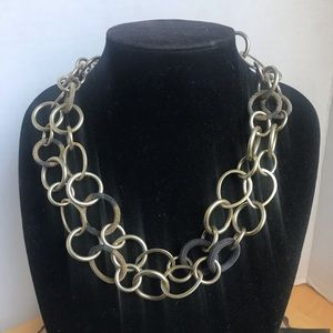 Kenneth Cole Brushed Brass Ring Link Necklace
